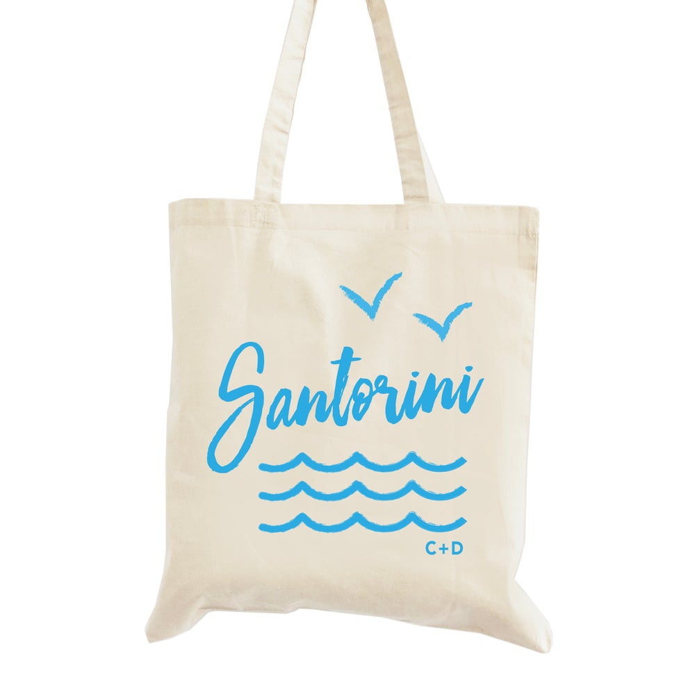 Image of Customizable Greece Beach Wedding Welcome Tote Bag
