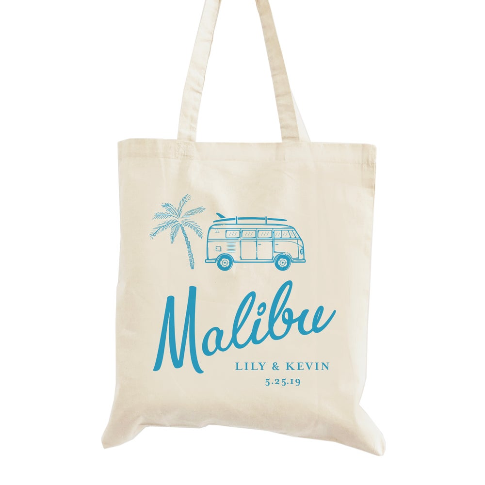 Image of Customizable Malibu Beach Wedding Welcome Tote Bag