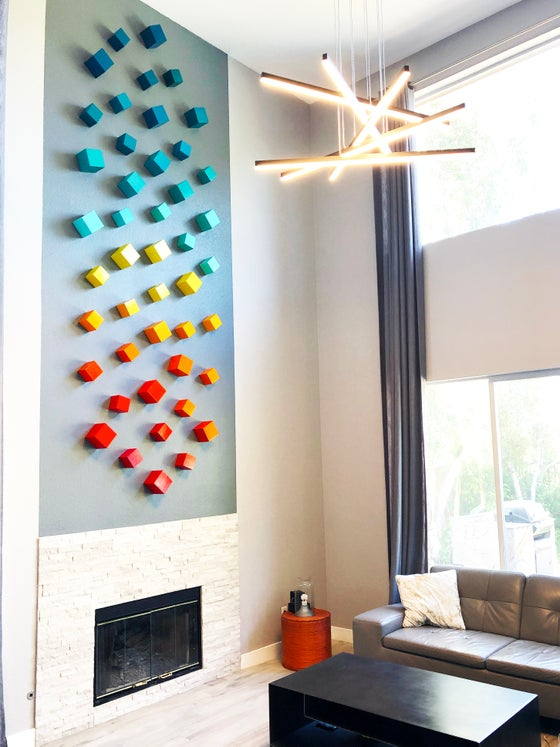 Image of Mid Century Modern Art | Cube Art | Modern Wall Sculpture | Large Wall Art | Colorful Wall Decor | W