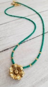 Thai Gold Flower & Malachite Necklace