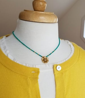 Image of Thai Gold Flower & Malachite Necklace