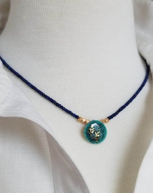 Image of Teal Porcelain + Lapis Necklace