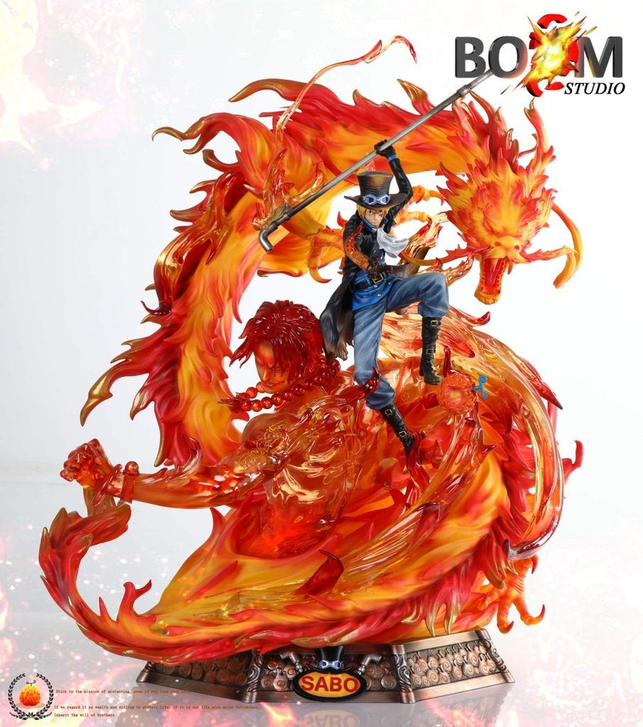 Image of One Piece Boom Studio Flame Dragon Sabo with Portgas D. Ace Resin Statue