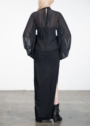 Image of Lace Collar Sheer Blouse black