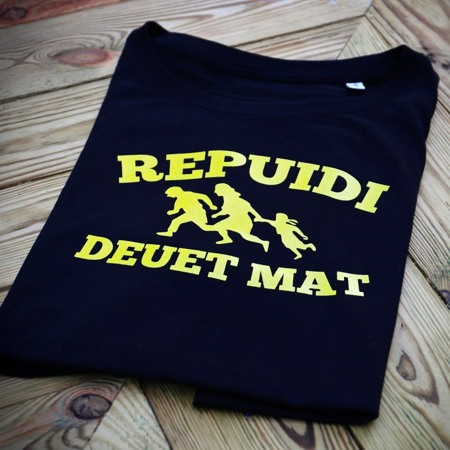 "Image of T-shirt ""Repuidi deuet mat"" (= Refugees Welcome) homme noir Bio & Équitable"