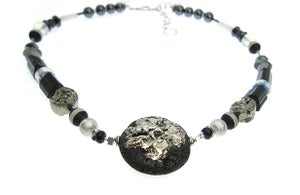 Image of ONE OFF Flat Lava with Fused Silver and Diamonds Necklace