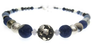 Image of Silvered Lava with Sodalite Necklace
