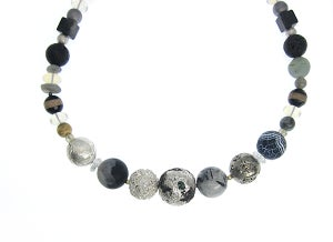 Image of ONE OFF Silvered Lava with inset Emeralds Necklace