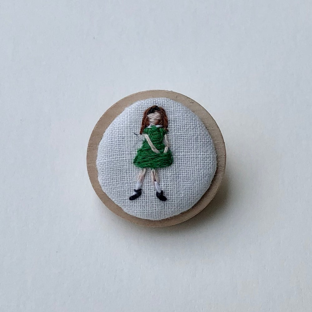 Image of Girl in Green Dress Embroidered Pin