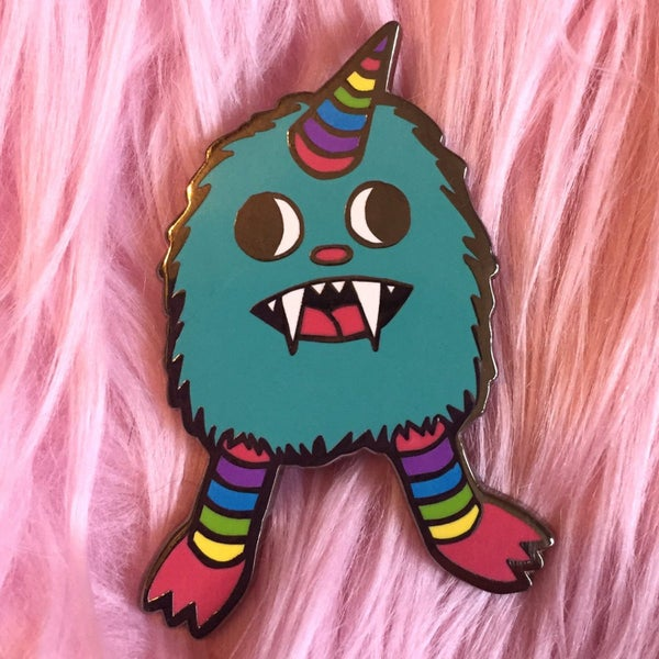Image of Rainbow Baby Monster enamel pin