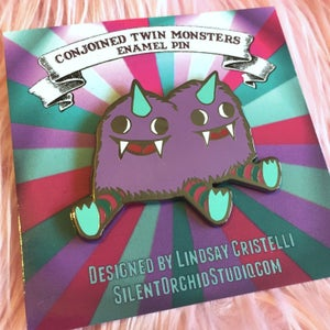 Image of Conjoined Twin Monster enamel pin