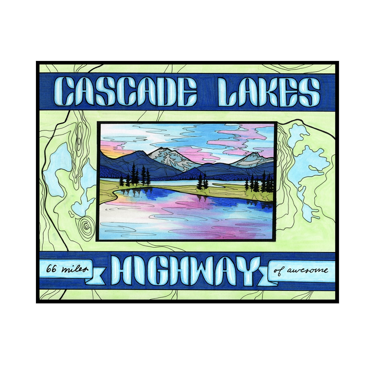 Image of Cascade Lakes Highway print 8x10""