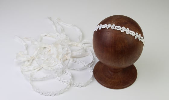 Image of White Hand Beaded Embroidered Halo/Silk Tieback