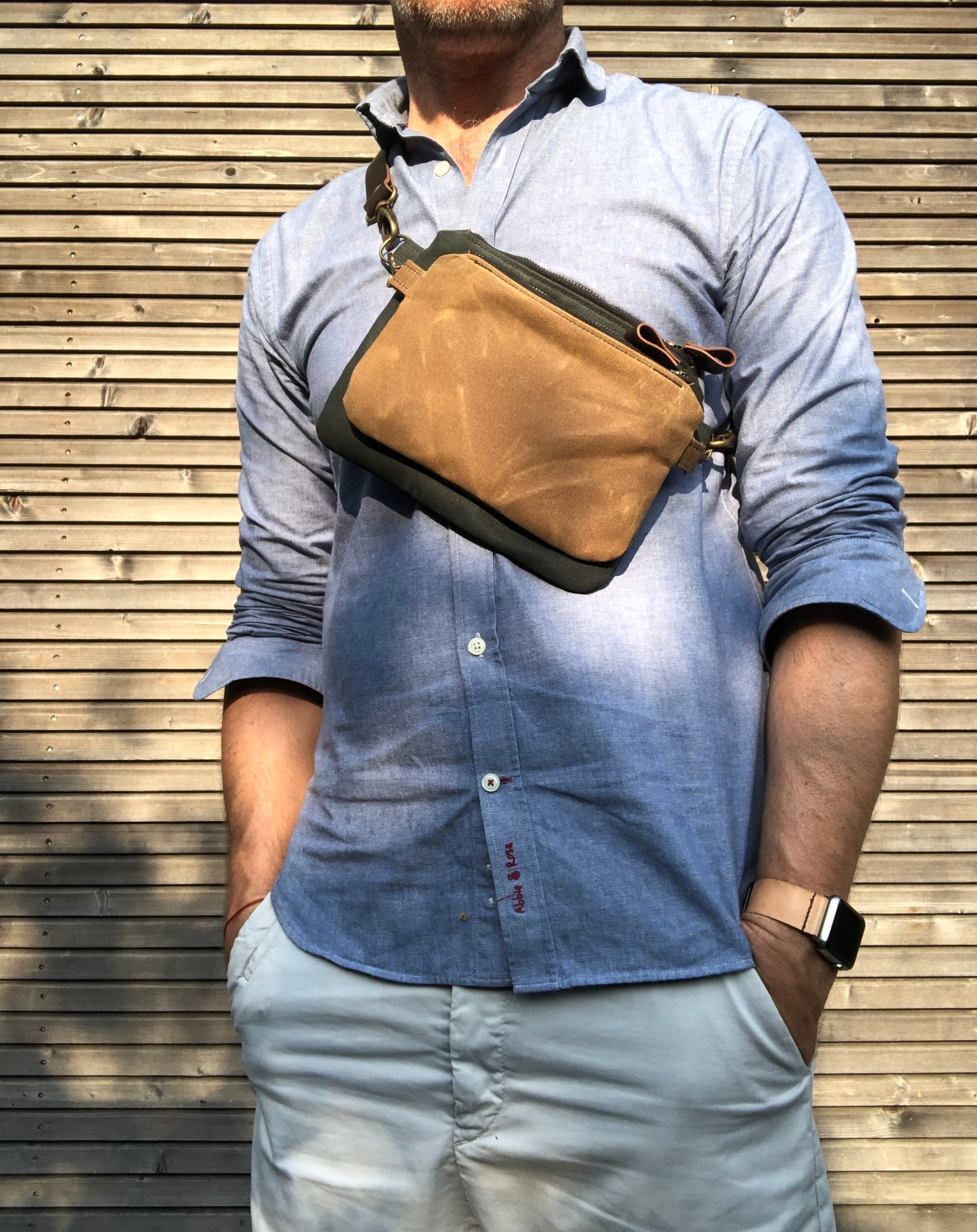 Image of Waxed canvas fanny pack / belt bag / small messenger bag/ kangaroo bag with leather shoulder strap