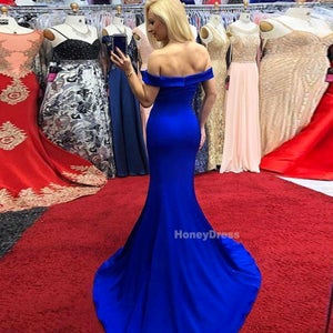 Image of Royal Blue Off The Shoulder Mermaid Prom Gowns With Side Slit, Long Train Evening Prom Dresses