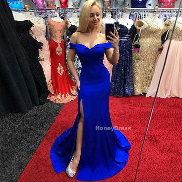 b0bf90efa7e8 Royal Blue Off The Shoulder Mermaid Prom Gowns With Side Slit, Long Train Evening  Prom Dresses