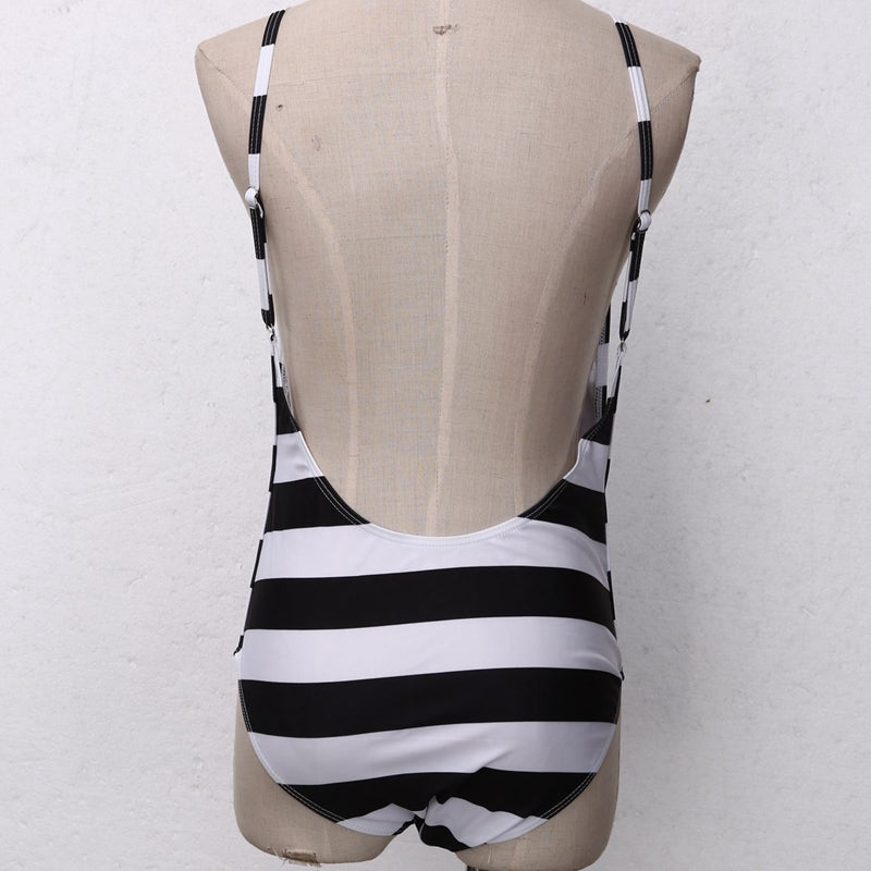 Image of Low back striped swimsuit