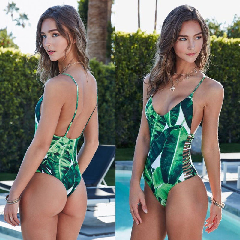 Image of Leaf print swimming costume