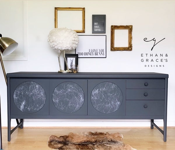 Image of Dark grey & marble Nathan circle sideboard