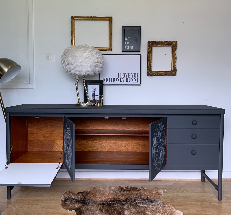 Image of Dark grey & marble Nathan circle sideboard