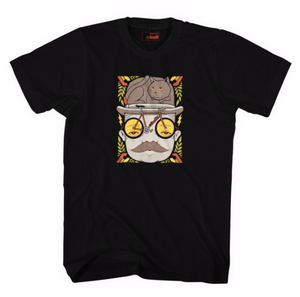 Image of Cinelli JEREMY FISH 'MR CAT HAT' T-Shirt Black