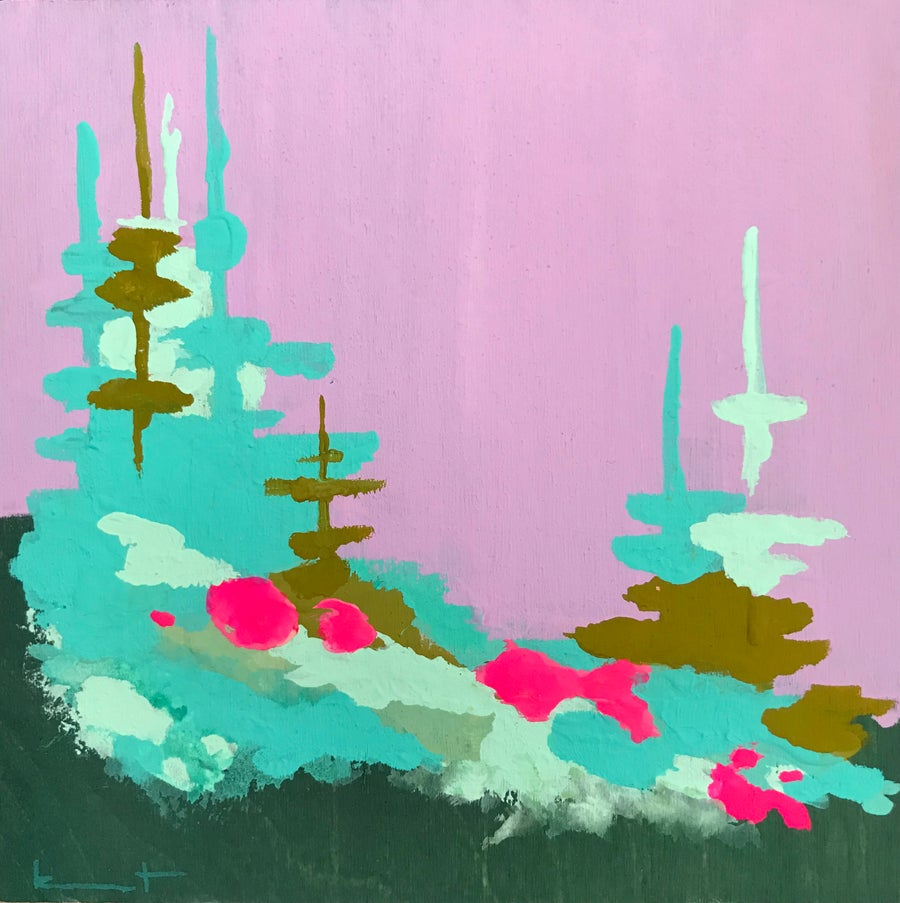 Image of tiny painting no. 84 (lilac, pool, opera)