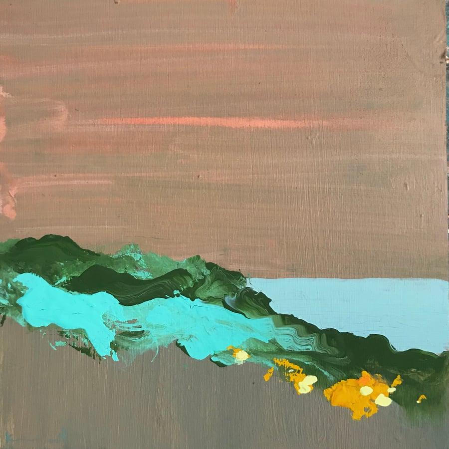 Image of tiny painting no. 85 (sand, sea, purslane)