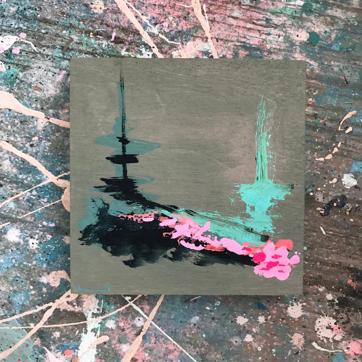 Image of tiny painting no. 86 (fog, mist, pink geranium)