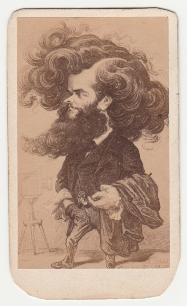 Image of Pierre Petit: caricature by Carjat of photographer Pierre Petit, CdV