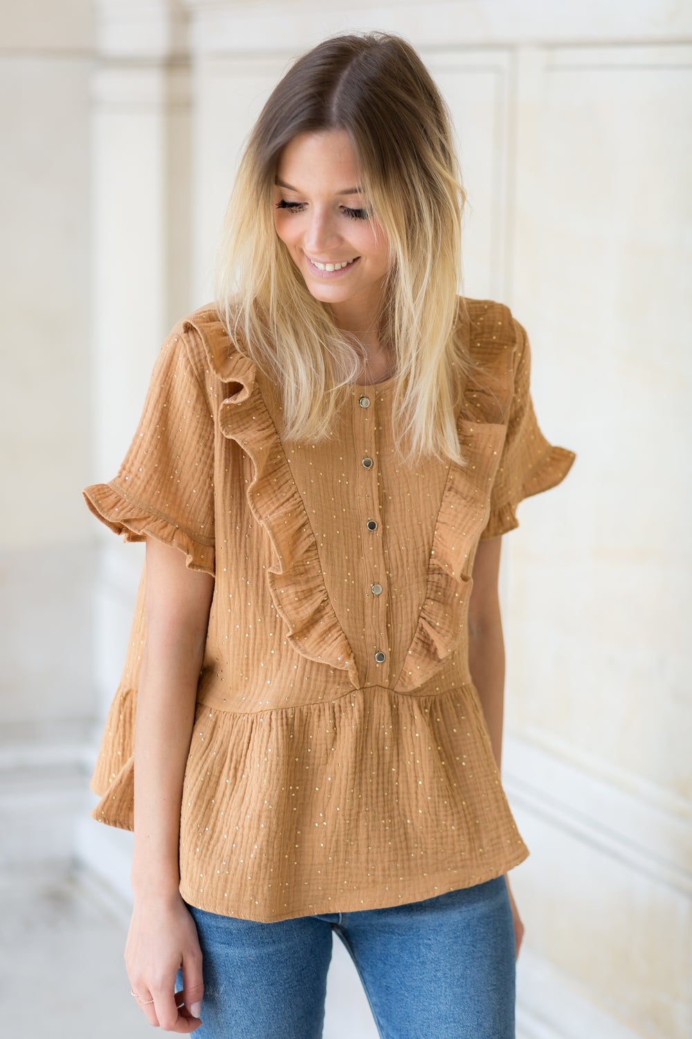 Image of BLOUSE ARIA - CAMEL/GOLD