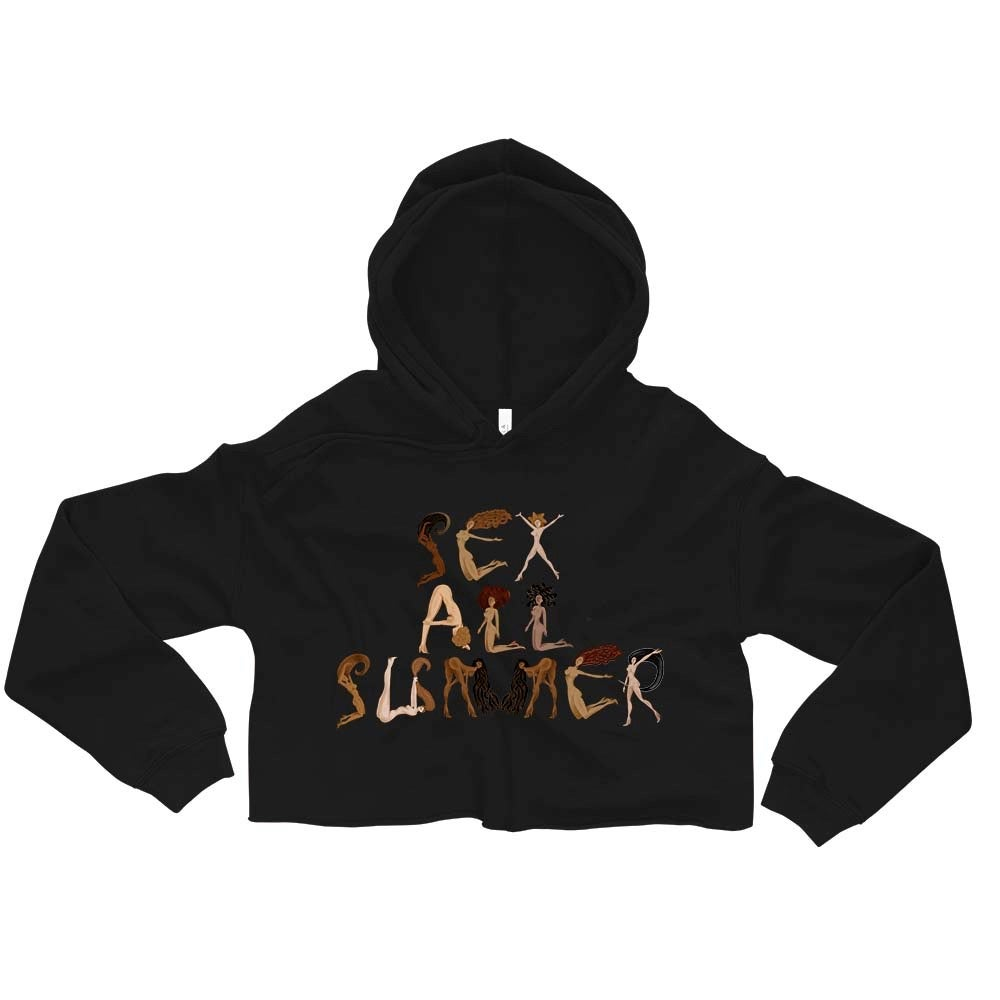 Image of (SeX AlL SuMMeR) Women's Black lightweight Crop Top Hoodie
