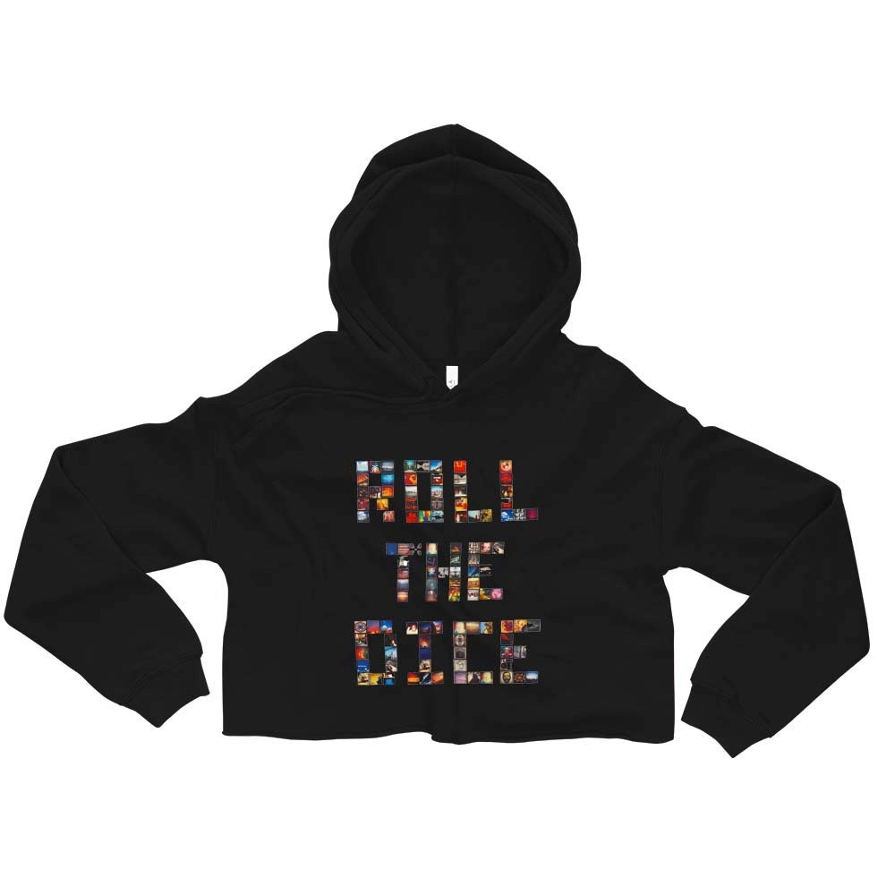 Image of (RoLL tHe DicE) Women's Black lightweight Crop Top Hoodie