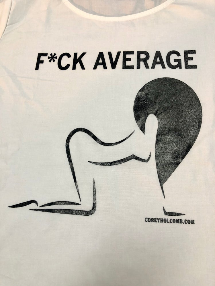 Image of F*ck Average Puff dress in Navy/White