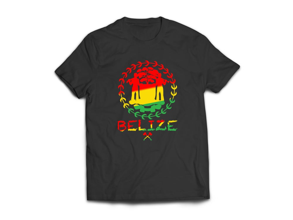 Image of BELIZE T-SHIRT - BLACK/RED/YELLOW/GREEN LOGO