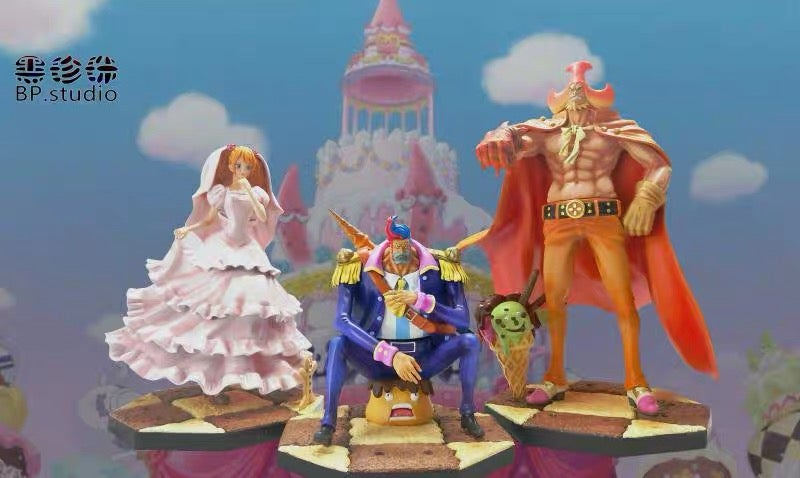 Image of One Piece Black Pearl Studio Big Mom Crew P.O.P Scale Set: Oven, Moscato & Pudding Resin Statue
