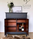 Image 2 of PROFESSIONALLY PAINTED Dark grey stag drinks cabinet