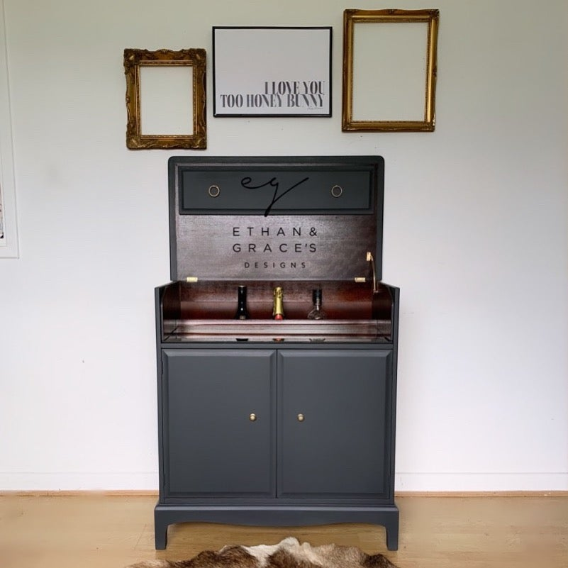 Image of PROFESSIONALLY PAINTED Dark grey stag drinks cabinet