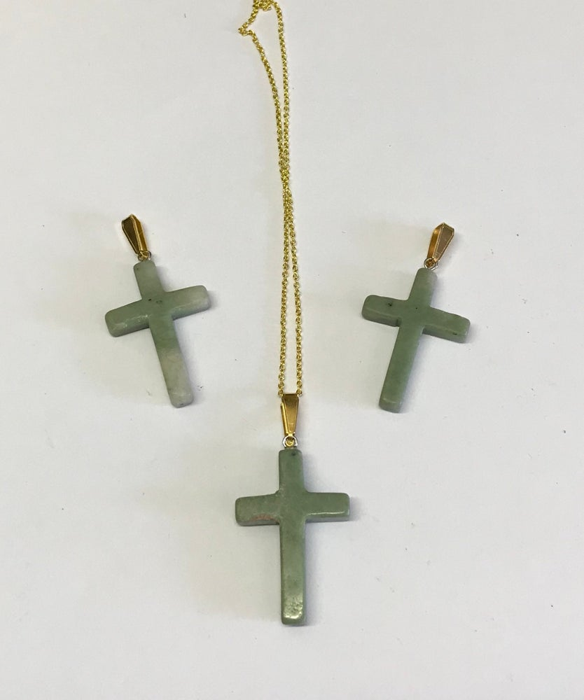 Image of Gold Plate Jade Cross