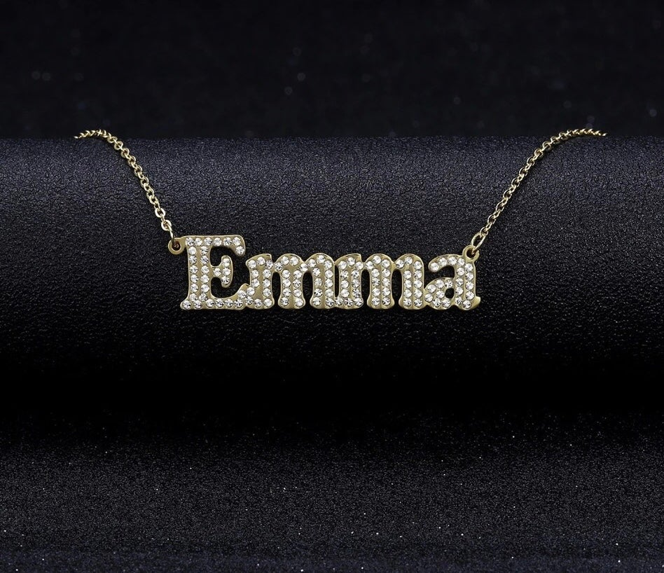 Image of Personalised Name in English With Zirconia Crystals font 1