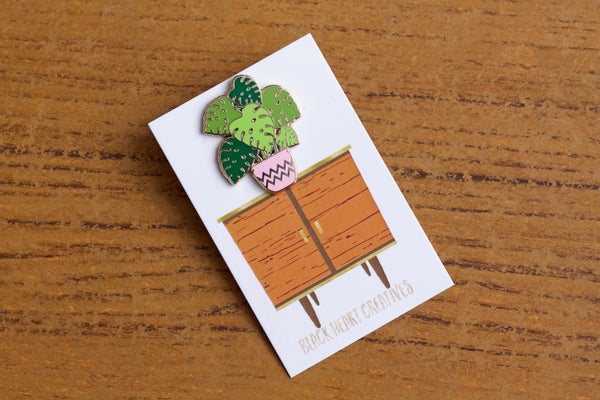 Monstera Cheese Plant Enamel Pin  - Black Heart Creatives