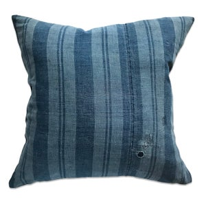 Image of JAPANESE INDIGO STRIPE PILLOW