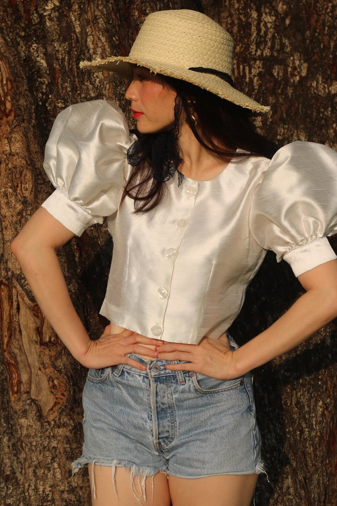Image of June Silk Blouse in off white