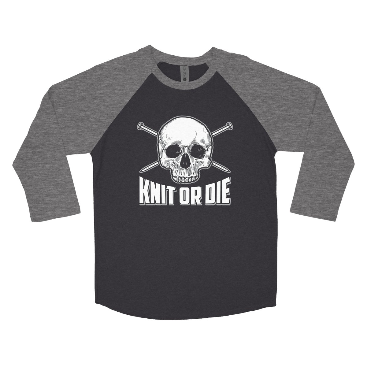 Image of Black and Grey Knit or Die Baseball T-shirt