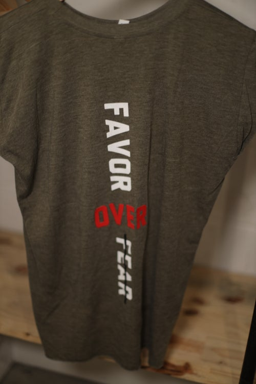 Image of Women's Heather Olive Highly Favored//Favor Over Fear Tee