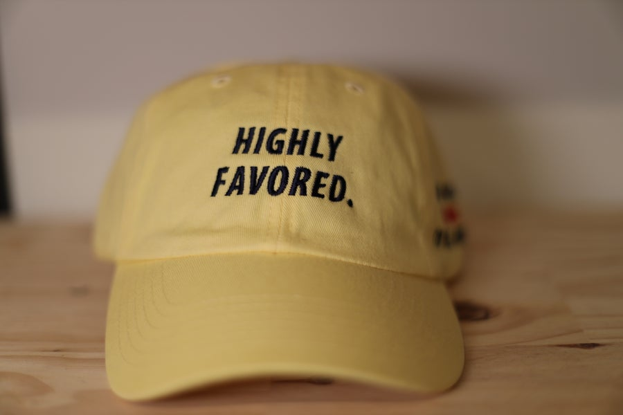 Image of Highly Favored Butter Classic Dad Cap//God Gives Favor To The Humble.
