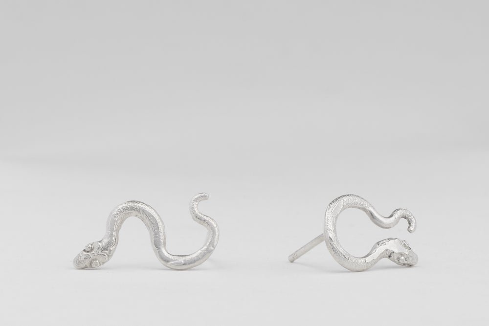 Image of Silver serpent earrings