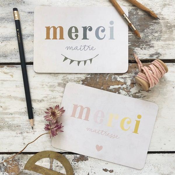 Image of Carte Postale MERCI MAÎTRE / MERCI MAÎTRESSE