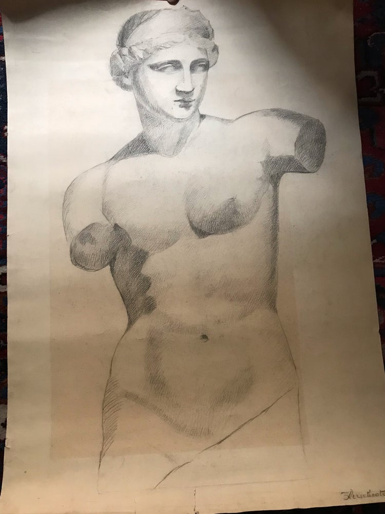 Image of Antique drawing of an Apollo signed and dated