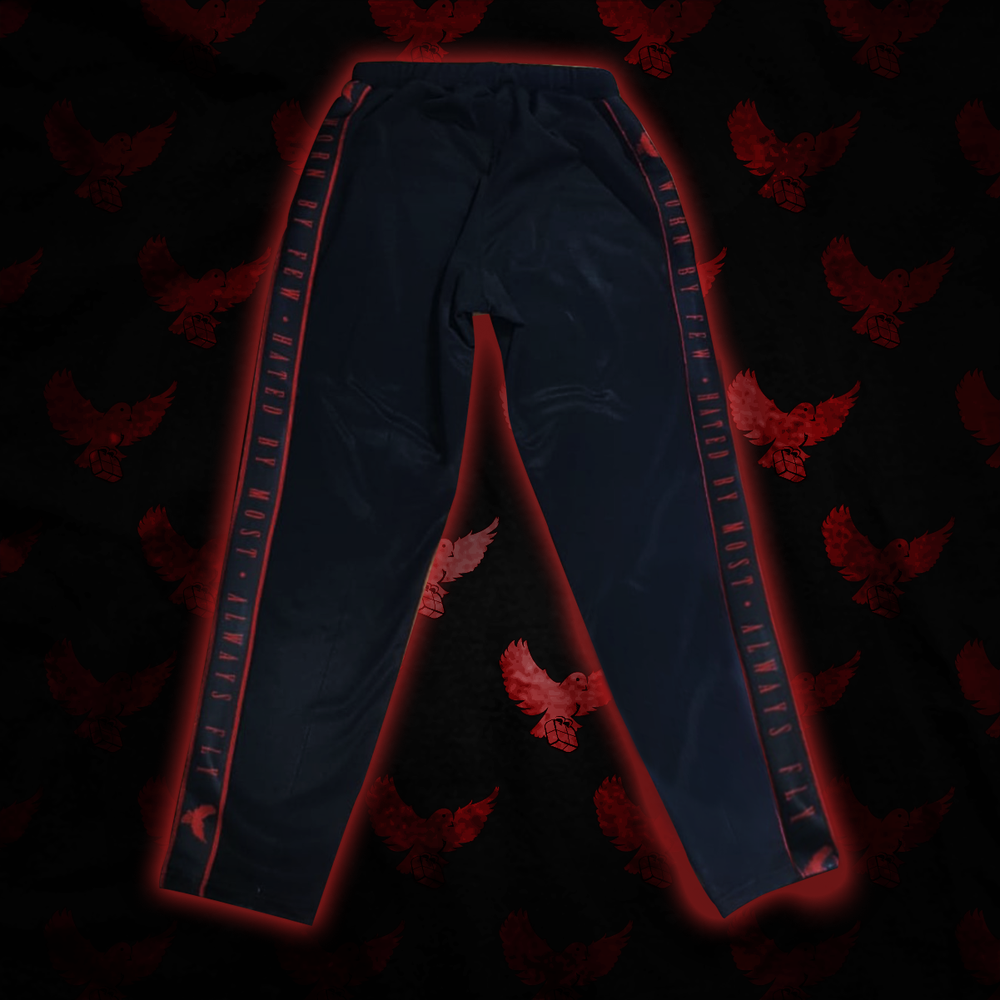"Image of Black/Red Zip-Up ""Worn By Few"" Track Pants"