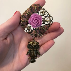 Image of Purple Rose Owl Dangles (sizes 1 3/8-1 7/8)